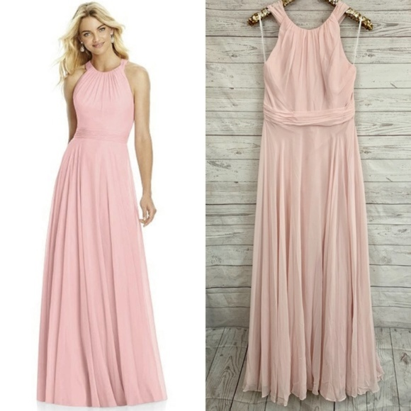 After Six Dresses & Skirts - After Six 6760 halter bow blush bridesmaid dress